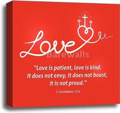 Christian Love Scripture With Heart And Cross On Red Background Gallery Wrapped Canvas Art (20in. x 20in.) by barewalls