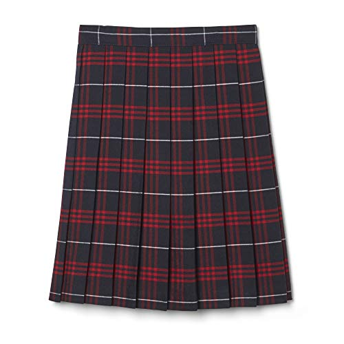 (French Toast Big Girls' Plaid Pleated Skirt, Navy/Red, 7)