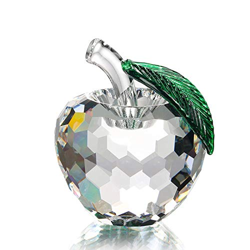 (ZAMTAC Clear Apple Faceted Single Crystal Paperweight Happy Art&Collectible Souvenir Novelty Gifts Crafts Home Decoration)