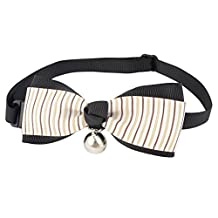 Uxcell Stripe Printed Bell Detail Pet Bow Tie White Beige