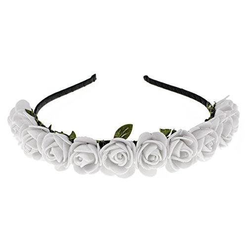 White Rose Headband (Love Sweety Boho Floral Crown Rose Flower Headband Hair Wreath (White))