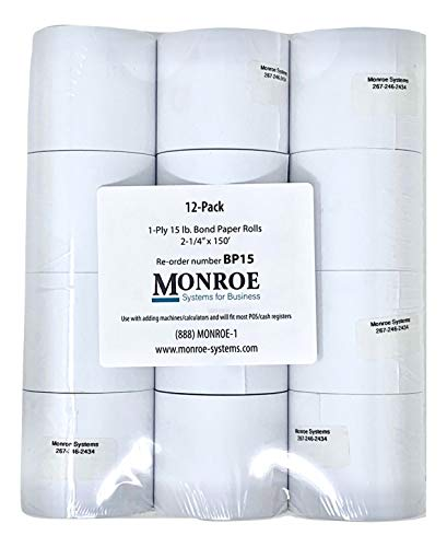 (Monroe Systems for Business 15 Pound Bond Paper Rolls, Single Ply, 2 1/4
