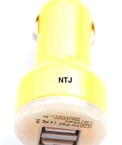 Price comparison product image NTJ 2.1 Amp (2.1a) USB 2.0 Dual Car Travel Mini Cube A/c Charger 5v Output Colorful Electronic Power Supply for Iphone 4 4s 5 5s 5c Micro Iphone 1st Generation, Iphone 3g, Iphone 3gs, Ipod Touch 2, 3, 4, Nano , Mp3 Mp4 Players Galaxy S2 S3 S4, Htc One X, Lg, Samsung Galaxy Note 2, Note 3, Sony Experia, Nokia Lumia, Lg Optimus, Casio, Blackberry, Motorola Droid, Pantech, Etc. Universal Charge for Most Mobile Phones (Many Colors to Choose From) (Yellow)