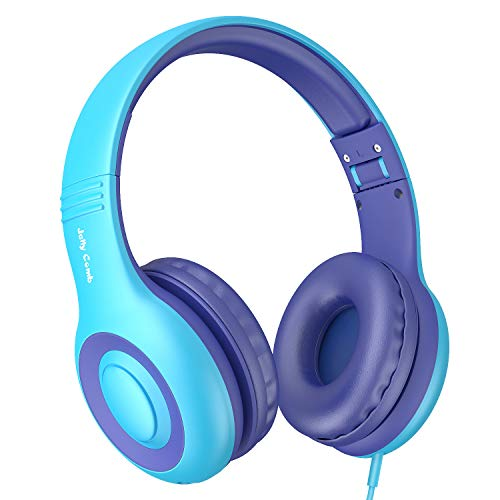 Kids Headphones, Jelly Comb Foldable Wired Over-Ear Headphones for Children with Music Sharing Function, 94dB Volume Limited, 3.5mm Audio Jack - Blue