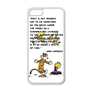 Calvin And Hobbes, Rubber Phone Cover Case For iPhone 5c, iphone 5c Cases, Black / White by Maris's Diary