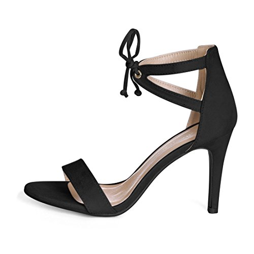 Allegra K Women's Stiletto Heel Ankle Tie Sandals Black KRzAojW8