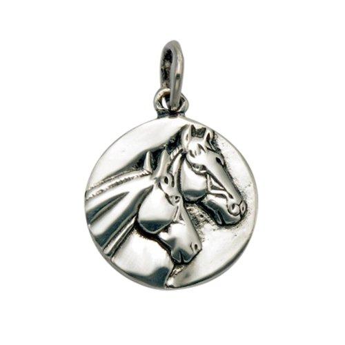 (Wildthings Ltd Sterling Silver Stallion & Mare Horse Head Pendant)