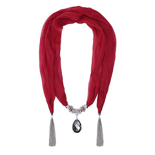 Jinsen Women's Scarf Necklace Wrinkle with Heart Pendant Tassel Scarf