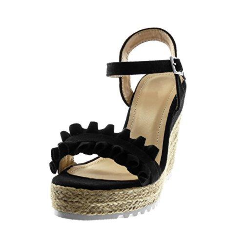 Angkorly Zapatillas Moda Sandalias Alpargatas Correa de Tobillo Suela de Zapatillas Plataforma Mujer Cuerda Trenzado con Volante Plataforma 11.5 cm Negro