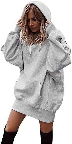 Women Fashion Solid Color Clothes Hoodie Pullover Coat Hoody Sweatshirt Long Sleeve Drawstring Top with Pocket