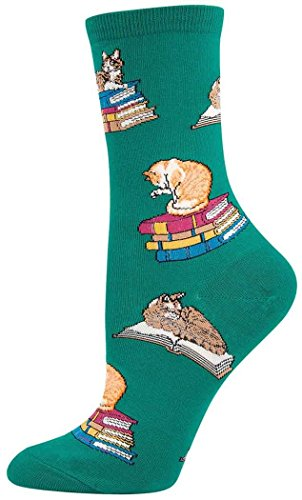 Socksmith Cats on Books Socks (Kelly)