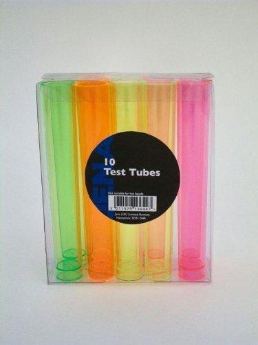 10 Multi Coloured Plastic Neon Test Tubes shots Glasses - 3.5cl c.014/t