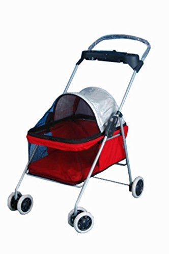 [Cute Red Posh Pet Stroller Dogs Cats w/Cup Holder] (Ny Costumes Rental)