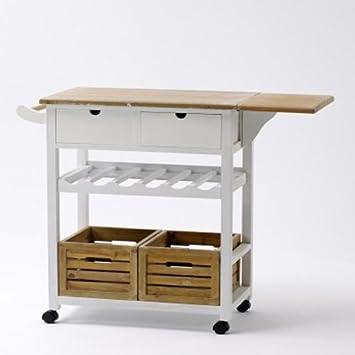 Küchenwagen Landhausstil landhaus küchenwagen servierwagen mit weinregal amazon de küche
