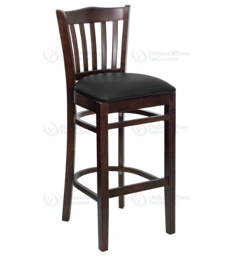 HERCULES Series Walnut Finished Vertical Slat Back Wooden Restaurant Bar Stool with Black Vinyl Seat