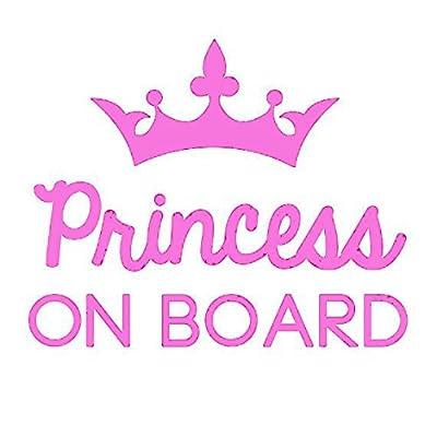 Princess on Board Decal Vinyl Sticker  Cars Trucks Vans Walls  Pink   6 in  KCD509: Automotive