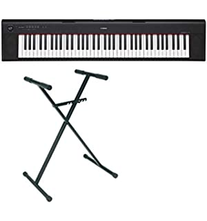 Yamaha NP-32 Piano digital con soporte en X y 76 teclas, color negro