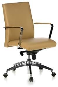 hjh OFFICE BAROLO 10 - Silla de oficina, piel de color beige