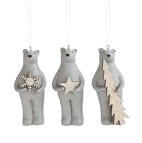 Grizzly Bear Ornament - Creative Co-op Winter Bears Hanging Ornaments - Set of 3