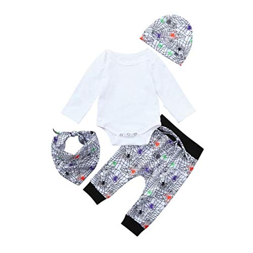 4Pcs Newborn Infant Baby Boy Girls Halloween Outfits Set Costume Tops Prin Pants Cap Bibs (White, Age:6-12 Months) for $<!--$10.26-->