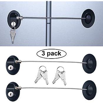 3 Pieces Refrigerator Door Lock Strong Adhesive Freezer Door Lock File Drawer Lock Child Safety Cupboard Lock with Keys (Black)