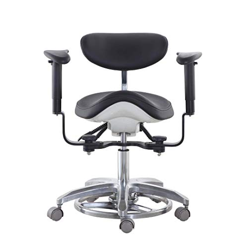 Global-Dental Mobile Chair Doctor's Stool Multi-Function Foot Controlled Microsope Dynamic Chair for Office Black Color PU ()