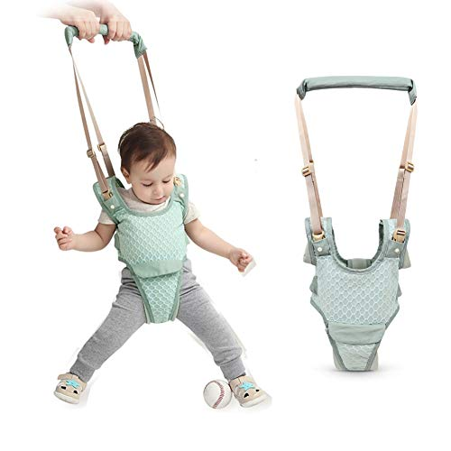 Handheld Baby Walking Harness for Kids, Adjustable Toddler Walking Assistant with Detachable Crotch&Bib, Safe Standing & Walk Learning Helper (Blue)