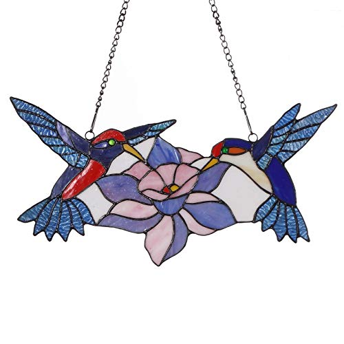 Bieye W10015 18 inches Hummingbird Tiffany Style Stained Glass Window Panel with Hanging Chain ()