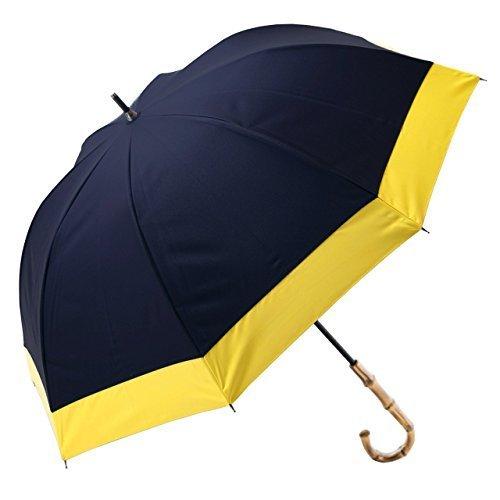 【Rose Blanc】100%完全遮光 日傘 晴雨兼用 レディース ミドルサイズ 55cm コンビ (ネイビー×イエロー) B07CBS3M3N ネイビー×イエロー ネイビー×イエロー