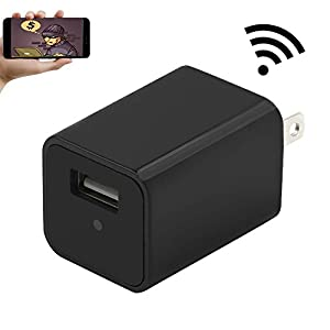Wifi Wall Charger Adapter Mini Camera,YYCAMUS 1080P HD USB AC Wall Plug Adapter Nanny Cam with Motion Detection