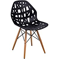 LeisureMod Akron Cutout Design Side Chair Wood Dowel Legs, Black