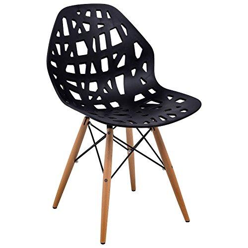 LeisureMod Calvert Modern Eiffel Base Side Dining Chair with Wood Dowel Legs (Black)