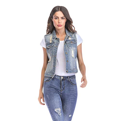 Mujer Corto Mangas Vaquero Chaleco Sin Jitong Destroyed Distressed qZCxH