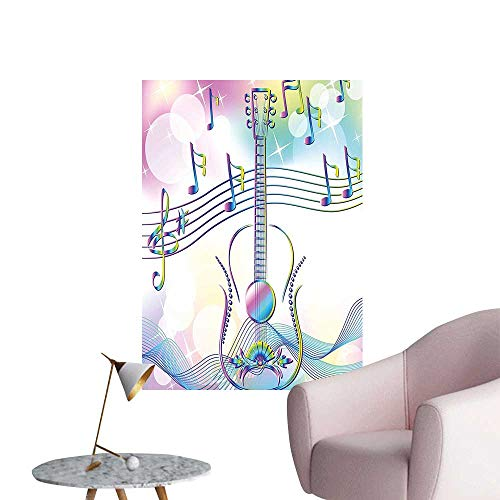 """Wall Decals Abstract Image Backdrop with Guitar Notes Star Beam Like Design Light Blue Pink Environmental Protection Vinyl,20""""W x 36""""L"""