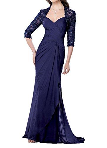 Navy Charmant Festlichkleider Lang Abendkleider Promkleider Blau Damen Langarm Spitze Elegant Brautmutterkleider UafzU