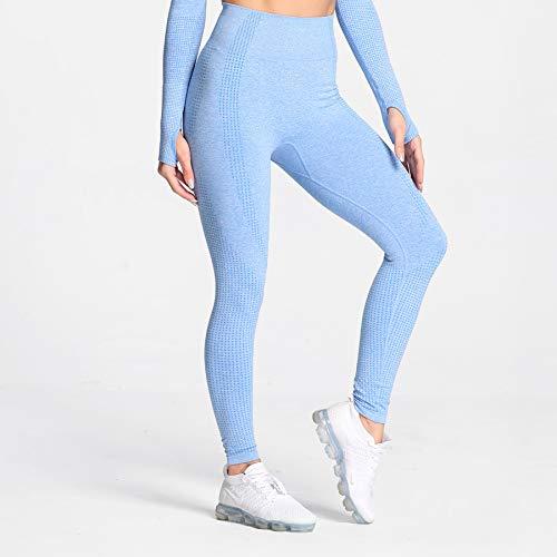 Aoxjox High Waist Seamless Leggings for Women Vital Workout Butt Lifting Tummy Control Yoga Pants (Sky Blue Marl, Medium)