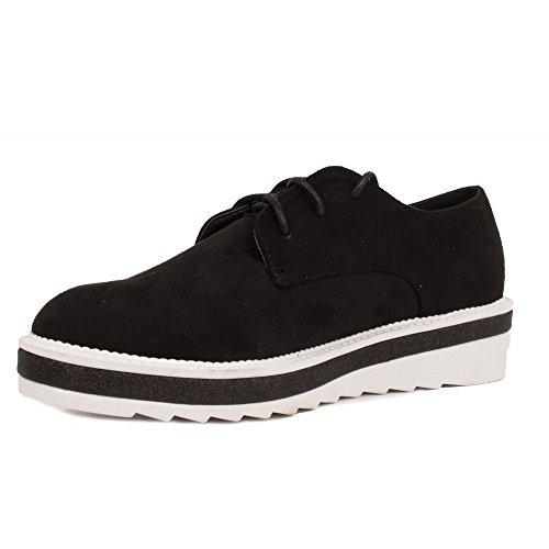 de con Primtex Brillante Negro Derby Plataforma de Zapatos Ante Franja xqqr6IT