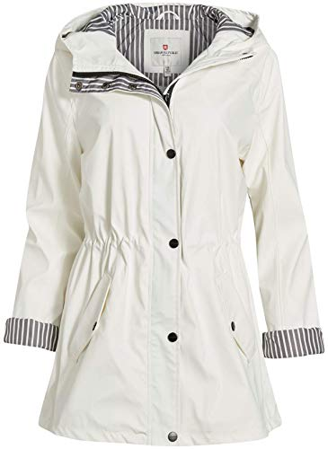 Urban Republic Women's Lightweight Hooded Raincoat Jacket with Cinched Waist, White, Size X-Large