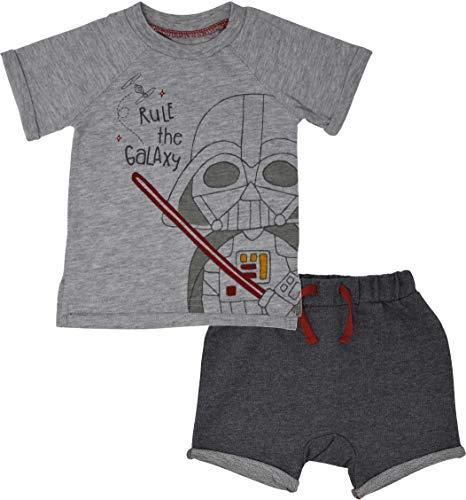 Star Wars Darth Vader Infant Baby Boys Short Sleeve T-Shirt & Shorts Set 24M Grey -