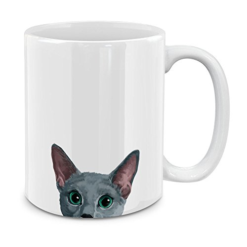 MUGBREW Russian Blue Cat White Ceramic Coffee Mug Tea Cup, 11 OZ (Russian Mug Ceramic)