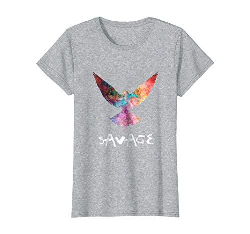 (Womens Be a Maverick - Be a Savage - Bird in Flight T-Shirt XL Heather)