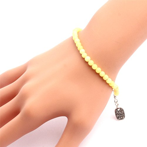 GEM-inside Bracelets 4mm Lemon Jade Agate Beads Adjustable Handmade 7.5 Inches Fashion Jewellry - Lemon Jade Necklace