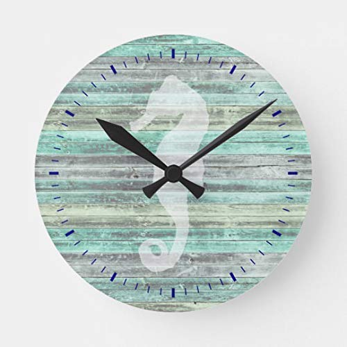 Pattebom Rustic Coastal Decor Seahorse Wood Wall Clocks Decorative Living Room Battery Operated Non Ticking 12 Inches Birthday Christmas ()