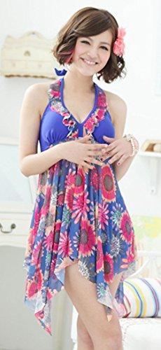 Tgmgm_yyq012 Women's Plus Size Backless Two-piece Slim Chest Pad High Waist Swimsuit Halter Shaping Body Swim Dress (3XL, Blue Prints)
