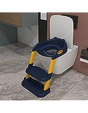 Potty Training Toiletzitting Verstelbare Baby Peuter Kid Toilet Trainer, Opvouwbare Stap Krukladder Zachte Kussen Sturdy en Antislip Brede Stappen (Color : Blue, Size : PP)