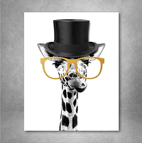 Gold Foil Art Print - Gentleman Giraffe With Gold Foil Glasses 8x10 inches (And White Gold Art)