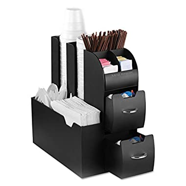 Mind Reader Coffee Condiment and Accessories Caddy Organizer, Black