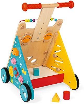 Janod - Chariot Multi-Activités Chat en Bois - Pousseur Évolutif avec Frein et Poignée Ajustable - Apprentissage de la Marche - Dès 1 an, J08005, Multicolore