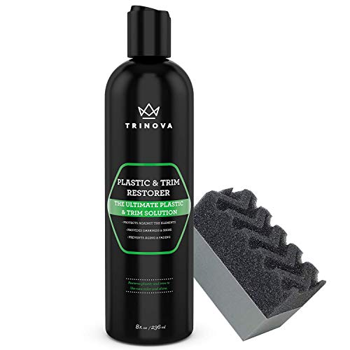 TriNova Plastic & Trim Restorer - Shines & Darkens Worn Out Plastic, Vinyl & Rubber Surfaces - Protects Cars & Motorcycles from Rain, Salt & Dirt - Prevent Fading - 8 OZ (Best Car Paint Restoration Products)