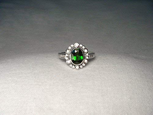 Gorgeous Estate 14K White Gold Green Tourmaline Diamond ()
